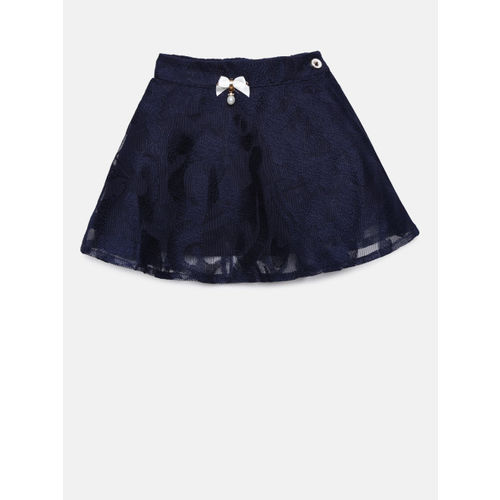 Peppermint Girls White & Navy Blue Embellished Top with Skirt