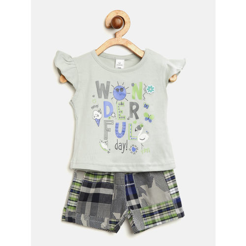 Olio Kids Girls Grey & Navy Blue Printed Top with Checked Shorts