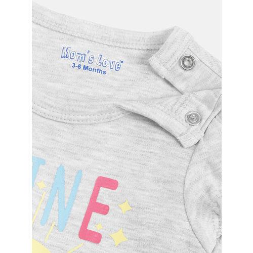 Moms Love Girls Grey Melange & Pink Printed Top with Shorts