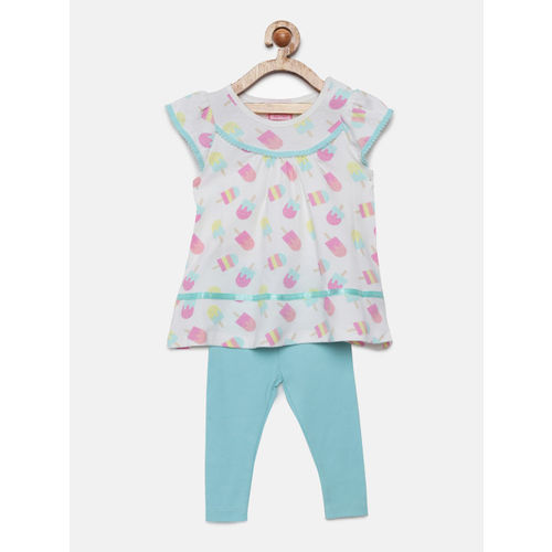Mini Moi Girls White & Blue Printed Top With Leggings