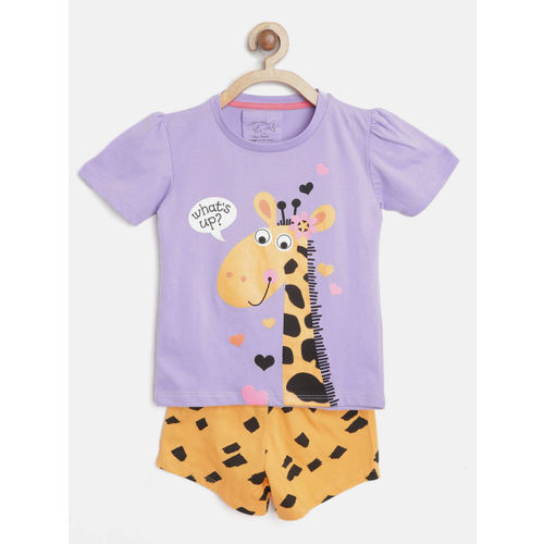 Lazy Shark Girls Lavender &Yellow Printed T-shirt with Shorts