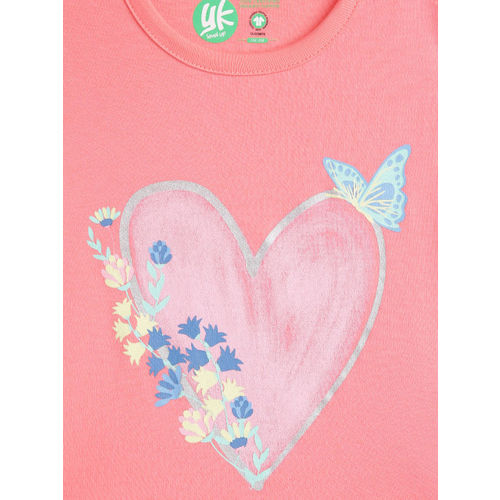 YK Girls Peach-Coloured & Blue Printed Top with Skirt