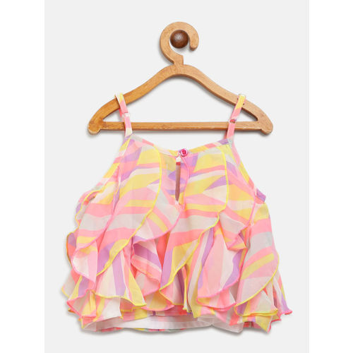 Nauti Nati Girls Pink & White Printed Top & Solid Shorts