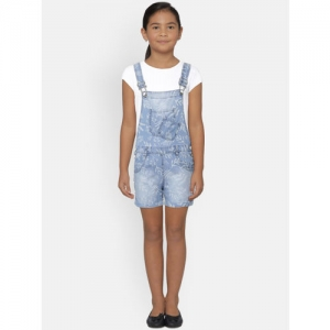 Gini and Jony Girls White & Blue Solid T-shirt with Dungarees