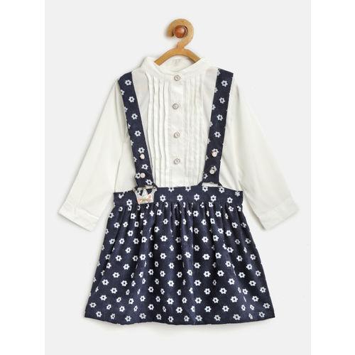 Nauti Nati Girls White & Navy Blue Solid Shirt & Printed Skirt with Attached Suspenders