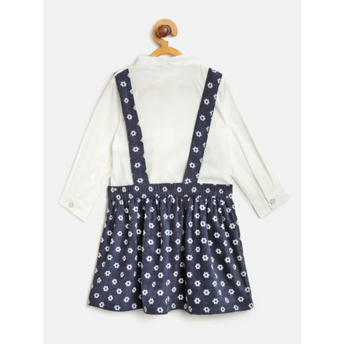 Nauti Nati Girls White & Navy Blue Solid Shirt & Printed Skirt with Attached Suspenders