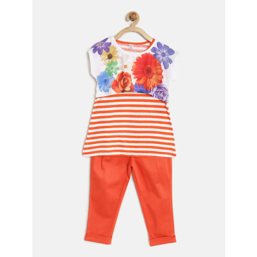 Peppermint Girls Orange & White Printed Striped Clothing Set