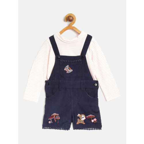 Nauti Nati Girls Navy Blue & White Solid Top with Dungarees