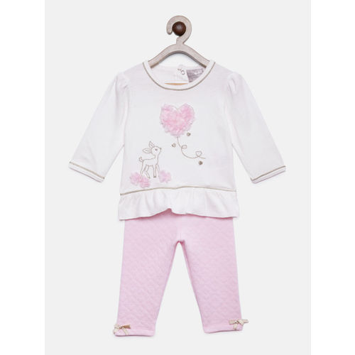 Rock-a-Bye Baby Girls White & Pink Embroidered Top with Pyjamas