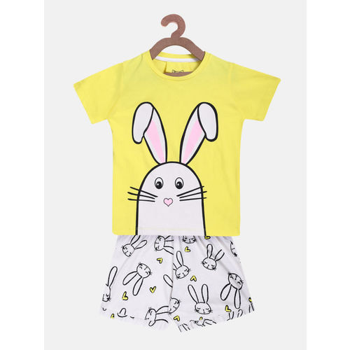 Lazy Shark Girls Yellow & White Printed T-shirt with Shorts