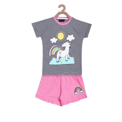 Lazy Shark Girls Navy Blue & Pink Printed T-shirt with Shorts