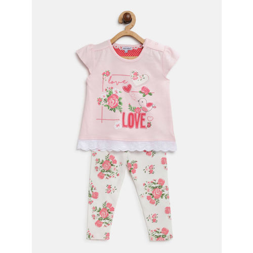 Mothers Choice Girls Pink & White Printed Top with Leggings