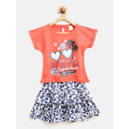 Olio Kids Girls Red & Blue Printed T-shirt with Skirt