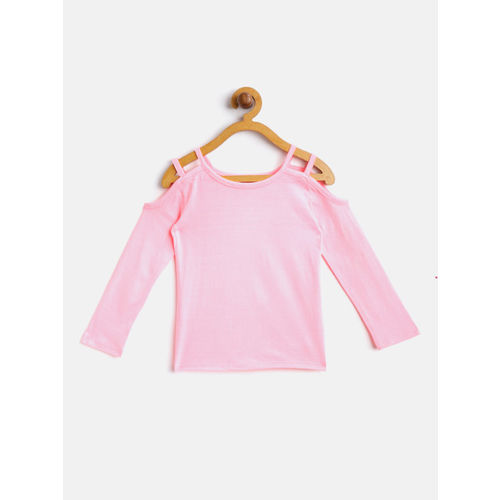 Nauti Nati Girls Pink & Blue Solid Top with Denim Dungarees