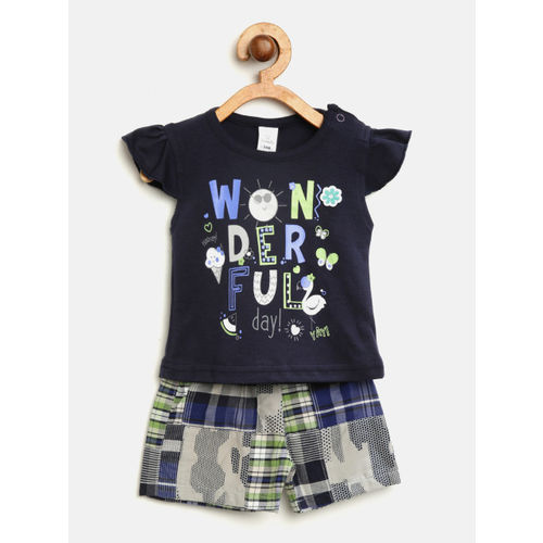 Olio Kids Girls Navy Blue & Grey Printed Top with Shorts