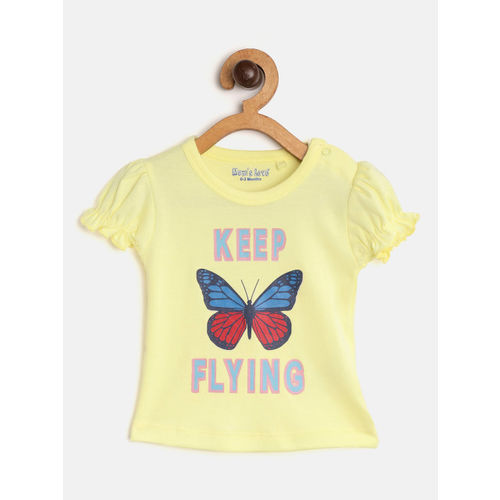 Moms Love Girls Yellow & Navy Blue Printed Top with Shorts
