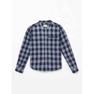 Bossini Boys Blue Regular Fit Checked Casual Shirt