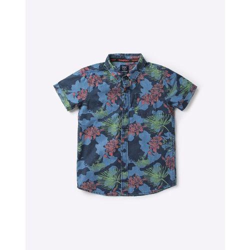 KB TEAM SPIRIT Floral Print Shirt with Graphic Print T-shirt