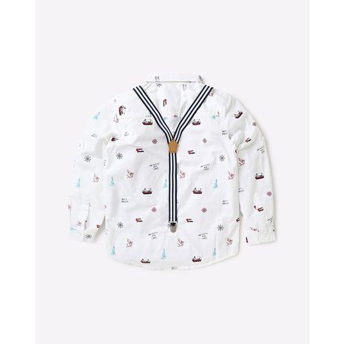 KB TEAM SPIRIT Printed Spread-Collar Shirt with Suspender Belt