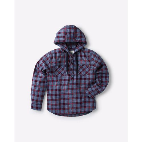 POINT COVE Checked Cotton Shirt with Hood