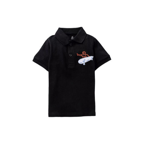 KiddoPanti Boys Pack Of 2 Black & Grey Embroidered Polo Collar T-shirt