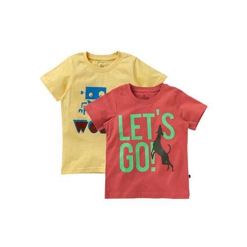 KiddoPanti Boys Pack of 2 Printed Round Neck T-shirt