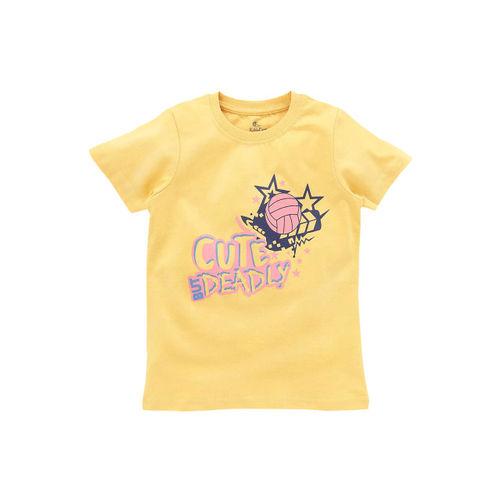 KiddoPanti Boys Yellow Cute But Deadly & Bike Printed Round Neck T-shirt