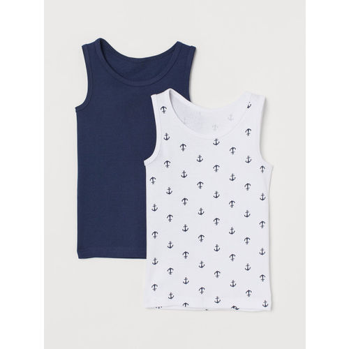 H&M Boys White & NAvy Blue 2-Pack Cotton Vest Tops