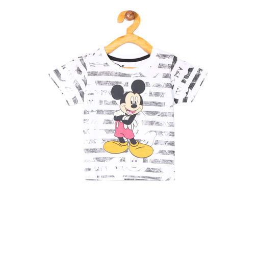 Colt Infant Boys White & Grey Mickey Mouse Printed Round Neck T-shirt