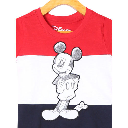 Colt Infant Red & Navy Blue Colourblocked Round Neck Mickey Mouse T-shirt