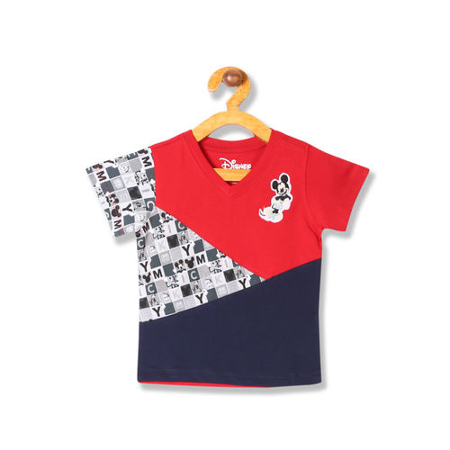 Colt Boys Red & Navy Blue Colourblocked V-Neck T-shirt