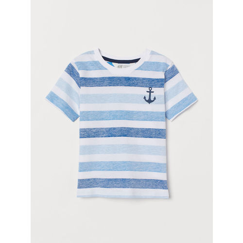 H&M Boys White & Blue Printed T-shirt