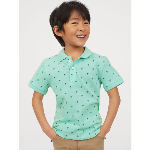H&M Boys Mint Green Tropical Print Polo Shirt