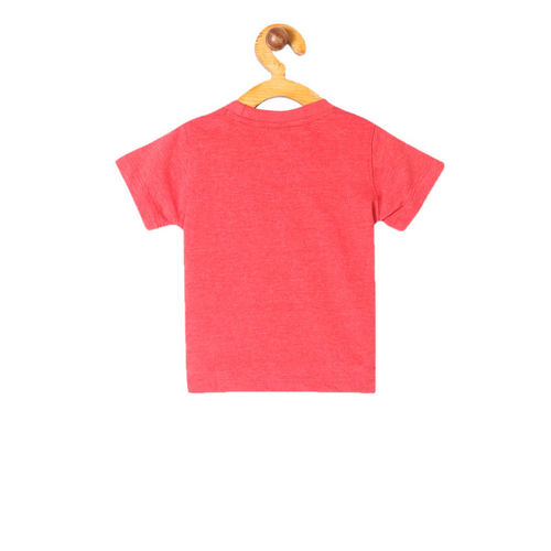 Colt Boys Red Mickey Mouse Printed Round Neck T-shirt