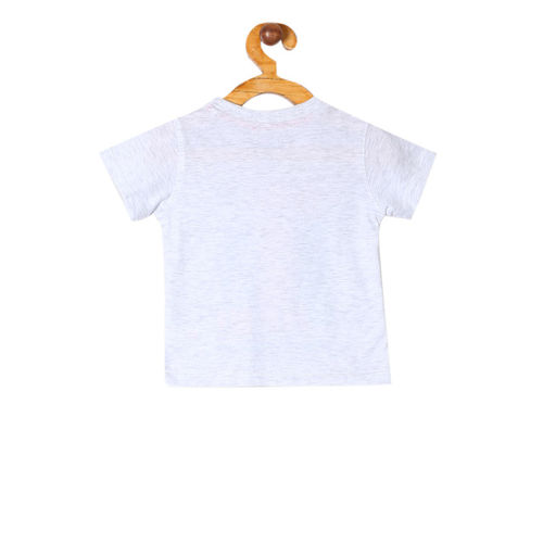 Colt Boys Grey Melange Printed Round Neck T-shirt
