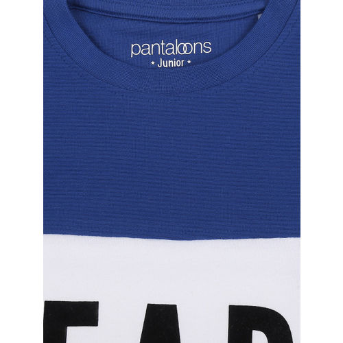 Pantaloons Junior Boys Navy Blue Printed Colourblocked Round Neck T-shirt