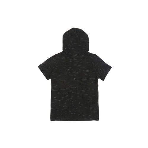 Pantaloons Junior Boys Black Printed Sequinned Hood T-shirt
