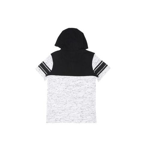 Pantaloons Junior Boys White Printed Colourblocked Hood T-shirt