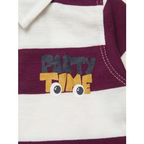 Chicco Boys Maroon & White Striped Polo Collar T-shirt