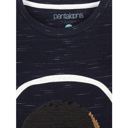 Pantaloons Junior Boys Navy Blue Printed Round Neck T-shirt