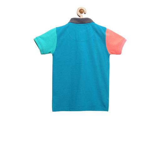 Cherry Crumble Boys Coral & Turquoise Blue Colourblocked Polo Collar T-shirt