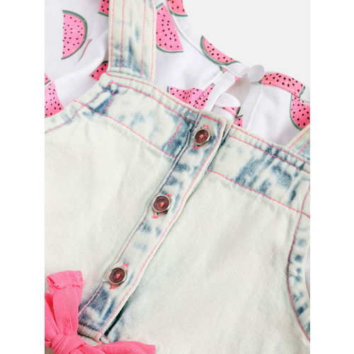 Nauti Nati Girls White & Blue Printed T-shirt with Denim Dungarees