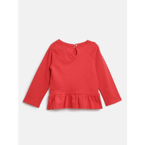 Nauti Nati Girls Red & White Self Design Top with Printed Pyjamas