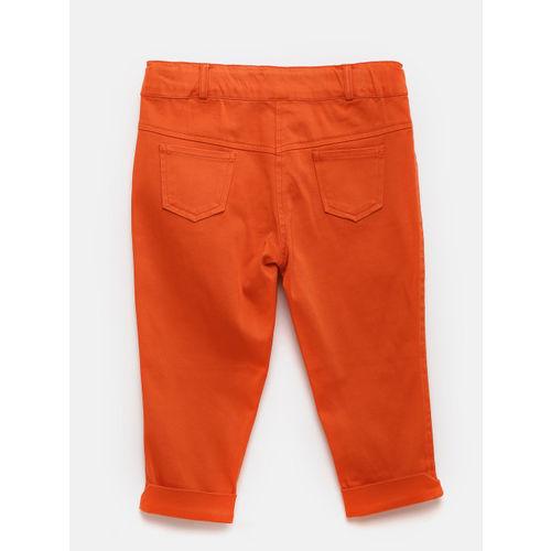 Peppermint Girls Off-White & Orange Printed Clothing Set