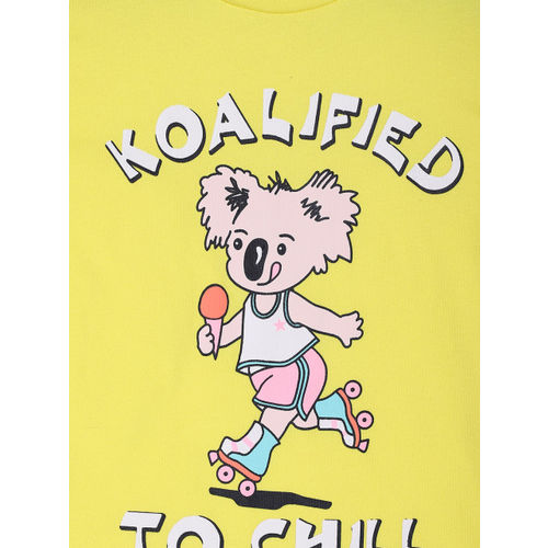 Lazy Shark Girls Yellow & Off-White Printed T-shirt with Ice Cream Printed Shorts