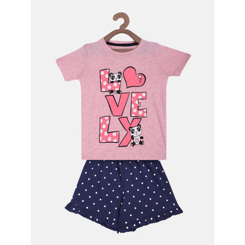 Lazy Shark Girls Pink & Blue Printed T-shirt with Shorts