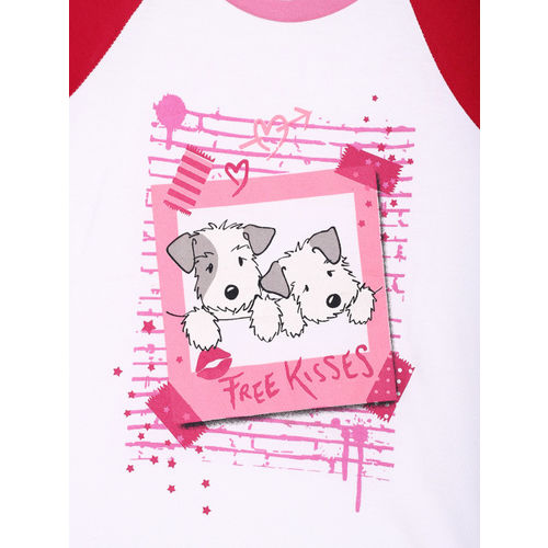 Lazy Shark Girls White & Pink Printed T-shirt with Shorts