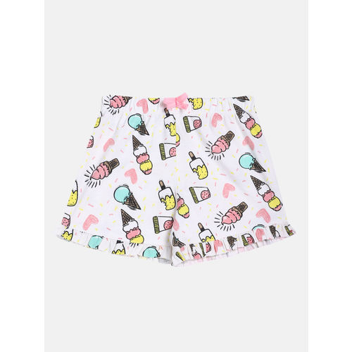 Lazy Shark Girls Pink & White Printed T-shirt with Shorts