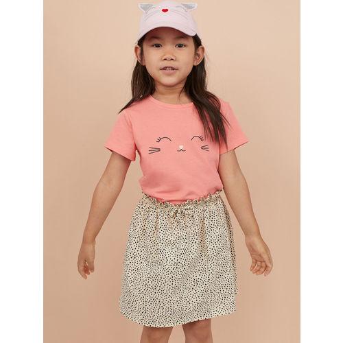 H&M Girls Pink & Cream Coloured 2-Piece Cotton Set