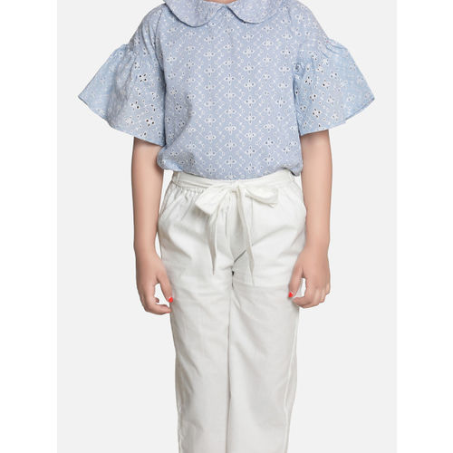 AWW HUNNIE Girls Blue & White Self Design Top with Trousers